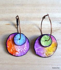 Fimo Clay, Polymer Clay Projects, Polymer Clay Creations, Polymer Clay Necklace, Polymer Clay Earrings, Paper Jewelry, Ceramic Jewelry, Etsy Earrings, Copper Rings