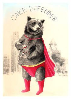 """The Cake Defender"" Print - Bear as a Superhero illustration on Etsy♥❦♥ Art And Illustration, Love Bear, Big Bear, Bear Art, Art Graphique, Limited Edition Prints, Illustrators, Character Design, Artsy"