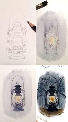 (@rosies.sketchbook) A lantern painting mini watercolor tutorial /process photos. #watercolor #watercolour #painting #sketch #art #artist #artwork #draw #drawing #doodle #watercolorist #illustration #illustrate