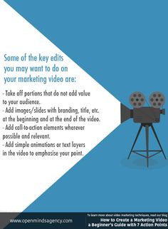 Some of the key edits you may want to do on your marketing video are: - Take off portions that do not add value to your audience.  - Add images/slides with branding, title, etc. at the beginning and at the end of the video.  - Add call-to-action elements wherever possible and relevant.  - Add simple animations or text layers in the video to emphasise your point. To learn more about video marketing techniques, read our blog: [Click on the image] ‪#‎omagency‬ ‪#‎video‬ ‪#‎marketing‬