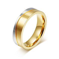Wedding Rings men / Women 18K Gold Plated Stainless Steel Engagement Ring
