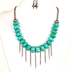 Stand out from the crowd in this beautiful handcrafted green necklace set. It's a fringe statement piece with bohemian edge. Buy it from our online store.