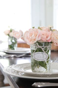 FRENCH COUNTRY COTTAGE: Mason Jar Place Setting Bouquets, not just for weddings! I'm thinking this would be lovely for a Mother's Day brunch!