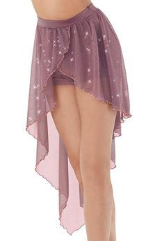 High-low hem, glitter mesh wrap-style skirt is attached to spandex competition-style shorts.For the top worn with this style, see Asymmetrical Lace Mesh Top - Ballet Costumes, Belly Dance Costumes, Dance Outfits, Dance Dresses, Dancing Outfit, Dance Skirts, Party Dresses, Skirt Fashion, Fashion Dresses