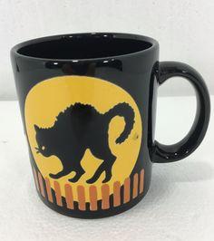 Waechtersbach Halloween Black Cat Full Moon Coffee Tea Mug Cup 10 oz