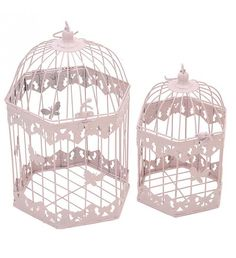 S_2 METAL CAGE-LANTERN  IN PINK COLOR 26X26X55