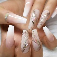 Marbled nails - #coffinnails Glam Nails, Cute Nails, Pretty Nails, Glitter Nails, Glitter French Nails, Coffen Nails, Diva Nails, Summer Acrylic Nails, Best Acrylic Nails