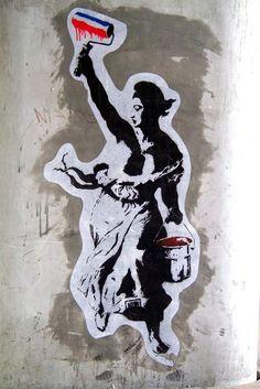 Marianne sait y faire pour ne pas s'emmêler les pinceaux... / Liberté d'expression. / Street art. / By Goin.