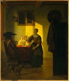 A Couple Playing Cards, with a Serving Woman  Pieter de Hooch  (Dutch, Rotterdam 1629–1684 Amsterdam)    Date:      ca. 1665-75  Culture:      Dutch  Medium:      Oil on canvas  Dimensions:      27 x 23 in. (68.6 x 58.4 cm)  Classification:      Paintings  Credit Line:      Robert Lehman Collection, 1975  Accession Number:      1975.1.143    This artwork is not on display