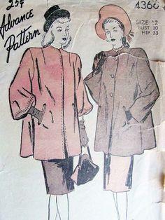 Advance Pattern Company (1933-66) #4366, ca. 1946; Misses' Coat