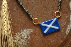 Scotland Flag Necklace Scottish Celtic St. Andrews Cross Scotland Jewelry Blue White Fused Glass Tribal Ambient Atelier Art Jewelry Design by AmbientAtelier on Etsy. I offer 10% off orders from Pinterest found items.