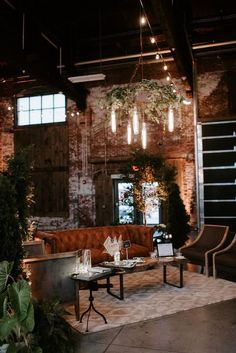 Maine Wedding Planner, Designer and Coordinator, DAISIES & PEARLS creates a lost garden in the industrial beauty of Brick South. Wedding Lounge, Loft Wedding, Indoor Wedding, Wedding Seating, Warehouse Wedding Decor, Dream Wedding, Wedding Night, Wedding Dress, Backyard Seating