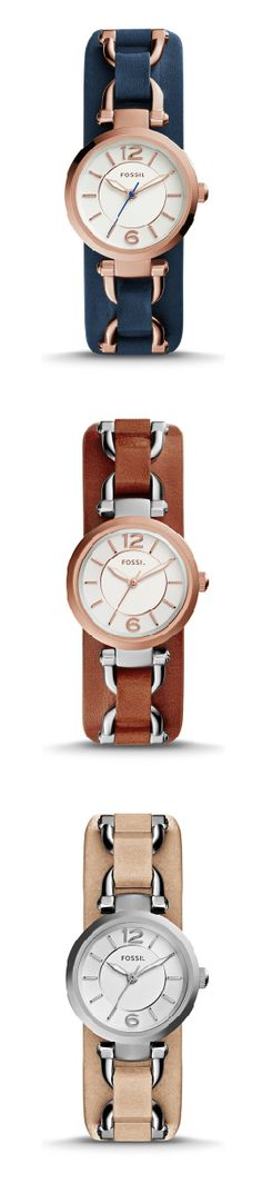 #Fossil Georgia Artisan Three-Hand Leather Watch #designcurious