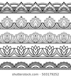 Set of seamless borders for design, application of henna, Mehndi and tattoo. Decorative pattern in ethnic oriental style - buy this stock vector on Shutterstock & find other images. Mehndi Designs, Henna Tattoo Designs, Tattoo Ideas, Mandala Art Lesson, Mandala Drawing, Mandala Tattoo, Henna Mandala, Drawing Drawing, Arm Tattoo