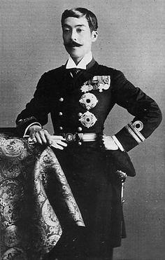 Japanese Imperial family's antique photograph.   Higashifushiminomiya Yorihito (1867-1922).   He is member of the Imperial family.   Edo-era / Meiji-era / Taisho-era.
