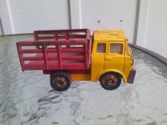 1972 Louis Marx Toy Truck Pressed Steel Yellow/Red Stake Side Made In Japan #marx #unknown