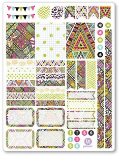 Aztec Decorating Kit / Weekly Spread Planner Stickers for Erin Condren Planner, Filofax, Plum Paper