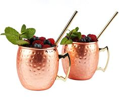 Lucky Star Moscow Mule Copper Mugs Set – 2 Mugs of Stainless Steel with Copper-plated - Perfect for Cocktails and Cold Drinks - Bonus Unique Recipes for NEW Mule Cocktails in Gift Box ** You can get additional details at the image link. Copper Moscow Mule Mugs, Copper Mugs, Hammered Copper, Pure Copper, Pureed Food Recipes, Mugs For Sale, Lucky Star, Unique Recipes, Mugs Set