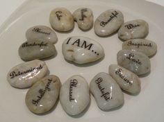 Inspiration Stones I AM . . . word stones, affirmations, message stones, inspirational rocks, therapy office, inspirational stones