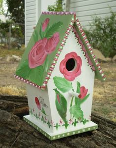 Rustic Hand Painted Bird House by GardenLifeDesigns on Etsy, $24.00