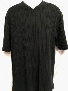 Claiborne V-Neck Mens XL Shirt Casual Short Sleeve Stretch Ribbed Black  #Claiborne #Casual