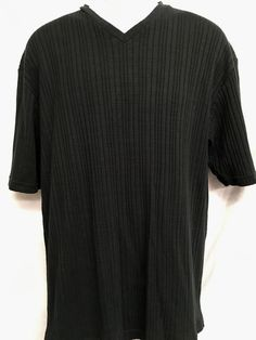 Claiborne V-Neck Mens XL Shirt Casual Short Sleeve Stretch Ribbed Black  #Claiborne #Casual