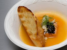 Sockeye Salmon & Seafood Broth with Mustard Seed Caviar & Dill Sourdough #topchef