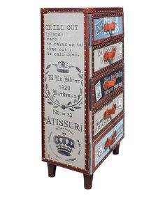 Love this Leather Trim Five-Drawer Chest by Vintage Addiction on #zulily! #zulilyfinds