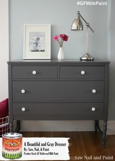 Saw Nail and Paint, https://sawnailandpaint.wordpress.com/ does amazing work!  This dresser was refurbished using General Finishes Driftwood Milk Paint and it's absolutely stunning!