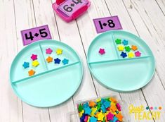 Introducing Addition in Kindergarten Number Bond Plates with Addition Cards - Kids&Baby Toys Teaching Numbers, Numbers Kindergarten, Kindergarten Lessons, Preschool Learning, Teaching Math, Kindergarten Addition, Teaching Addition, Math Addition, Addition Games