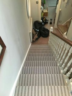 The New Striped Carpet In The Stairs