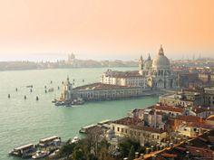 Basilica Di Santa Maria Della Salute and Grand Canal, Venice, Italy Stretched Canvas Print by Alan Copson at Art.com