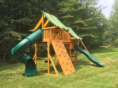 1000 images about swing set installations on pinterest for Wooden swing set with bridge