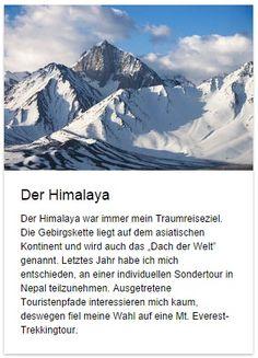 """Auf deutschfans.com wartet auf euch ein neuer #Aufsatz """"Der #Himalaya""""! Was ist euer #Traumreiseziel?   Wenn ihr noch nicht wisst, mach den #Test hier: http://www.testedich.de/quiz25/quiz/1217776524/DEIN-TRAUMREISEZIEL  Viel Spaß beim Lesen!"""