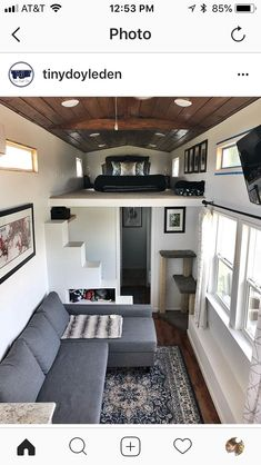The built-in benches have storage underneath, plus they fold out into a bed that sleeps two. Tiny House Cabin, Tiny House Living, Tiny House Plans, Tiny House Design, Tiny House Stairs, Tiny House Storage, House Wall, Built In Bench, Tiny Spaces