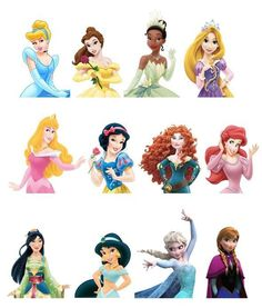 12 Different *Top Half* Disney Princess Edible Wafer Paper Cake Toppers