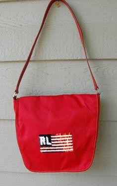 A Great Patriotic Purse.  Ralph Lauren Polo Jeans Red Sequin USA Flag Shoulder Purse Bag #RalphLauren #ShoulderBag