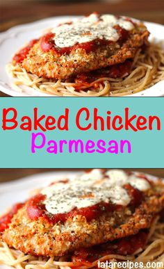 Baked Chicken Parmesan Prep Time :20 min Cook Time :37 min Total Time :57 min Ingredients 4 (about 8 oz each) chicken breast, fat trimmed, sliced in half to make 8 3/4 cup seasoned breadcrumbs (I used whole wheat) 1/4 cup grated Parmesan cheese 2 tbsp butter, melted (or olive oil) 3/4 cup reduced fat mozzarella cheese (I used Polly-o) 1 cup marinara cooking spray