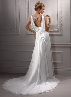 Ancient Greek style wedding dress love the draping at the back