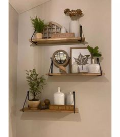Wood Wall Shelf with Hanging Wire Natural/Black - Threshold™