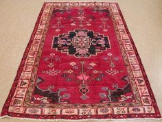 PERSIAN LURI Tribal Hand Knotted Wool RED PINK IVORY LAVENDER Oriental Rug 5 x 8 #PersianLuriTribalNomadicGeometric
