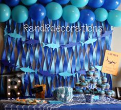 Shark Banner Birthday decorations Shark Cutouts Boy