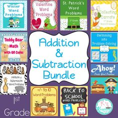 A year of 1st grade addition & subtraction word problems centers!
