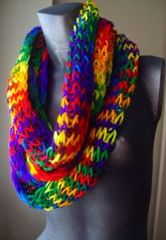 Rainbow scarfs- though these are yarn, similar patterns can be made with rubberbands
