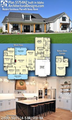 Top house plan- 4 beds, big kitchen, bathroom near garage entrance, basement option