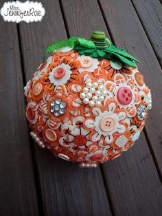 Pumpkin Button Pomander by Miss Jennifer Rae, via Flickr