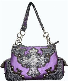Purple Rhinestone Cross Western Purse