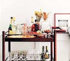 """Receive terrific pointers on """"bar cart decorating"""". They are on call for you on our site. Bar Cart Styling, Bar Cart Decor, Food Safety Tips, Food Tips, Steak Dinner Sides, Gold Bar Cart, Living Vintage, Cupboard Design, Industrial House"""