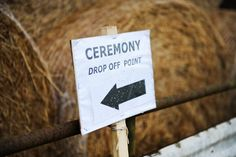 Drop off point at a wedding on a bison farm. Complete with straw bales. Find out more about our wedding photography at www.littlephotocompany.co.uk