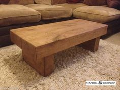 Oak coffee tables are a good type of coffee table for long term use and survival in a house full of pets and children. Oak is traditional for coffee tables, Upcycled Furniture, Wooden Furniture, Furniture Decor, Oak Coffee Table, Oak Table, Sleeper Table, Wood Projects, Woodworking Projects, Wood Beams
